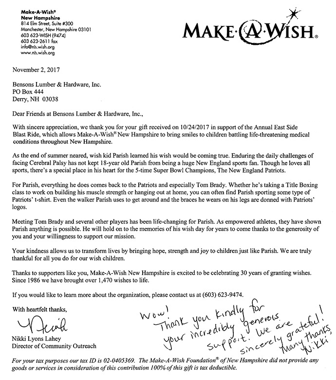Make-A-Wish Thank You