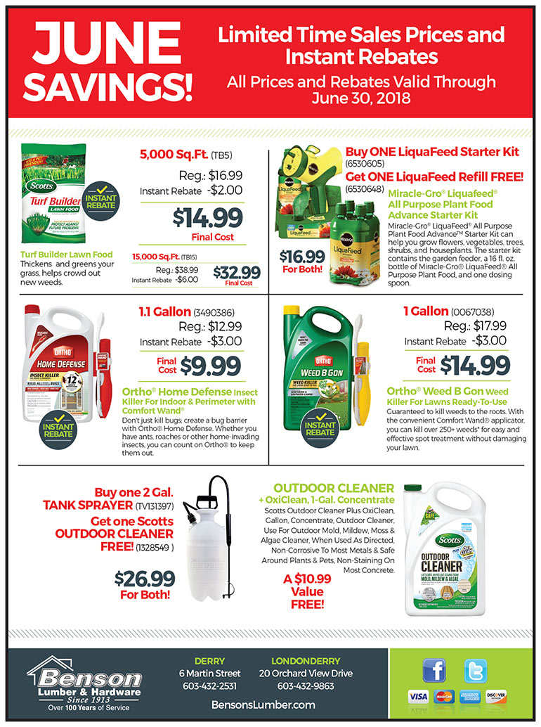 June Rebate savings and specials